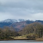 snow mountains from windermere